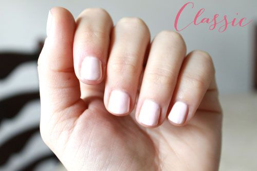 Classic: When I think of a timeless bridal manicure, soft shades of blush pinks come to mind (as well as classic French manicures—that's a given). My favorite muted pinks include Essie's Topless & Barefoot, Scotch Naturals in Neat, as well as OPI Sweetheart. For the above photo I gave this classic manicure a modern spin by finishing it off with a matte topcoat.