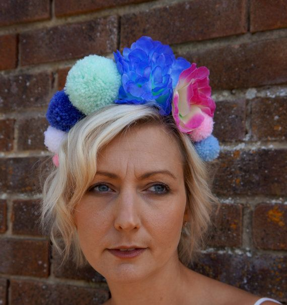 Hey, I found this really awesome Etsy listing at https://www.etsy.com/uk/listing/235797269/festival-headband-pom-pom-crown-flower