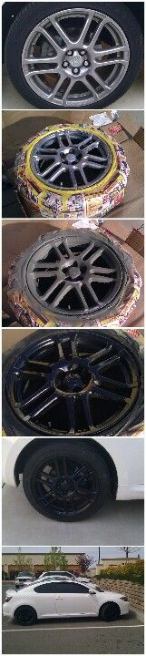DIY rims! Want black rims? Get auto paint and primer and go to town! Well, after your done you can drive to town!