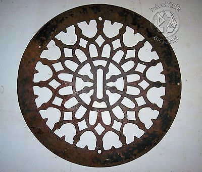 Antique Large Round Cast Iron Heat Register Floor Grate