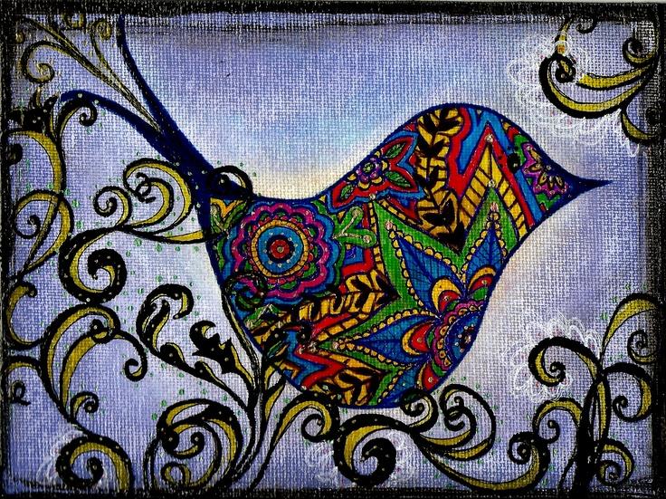 Bird Doodle - Pen and Canvas Original Artwork - Molly Alexander