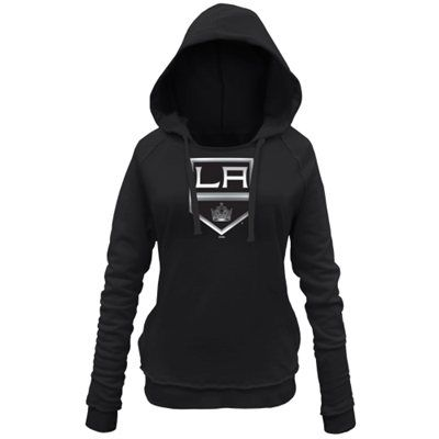 Women's Los Angeles Kings New Era Black Core Brushed Fleece Pullover Hoodie