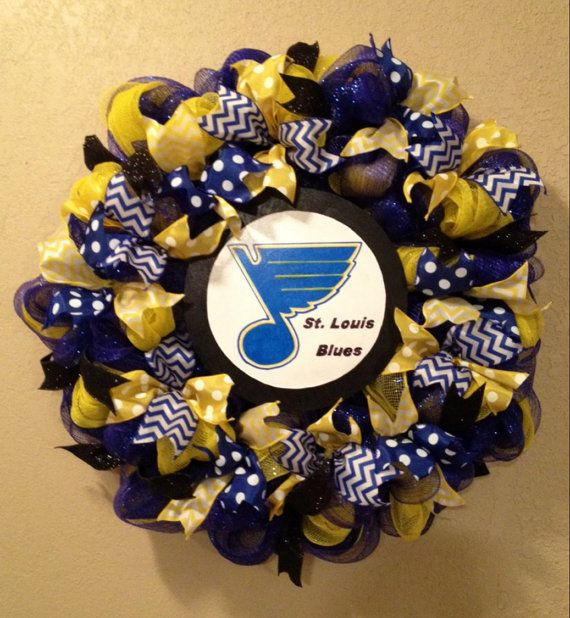 St Louis Blue wreath St Louis Blues hockey puck by WandNDesigns