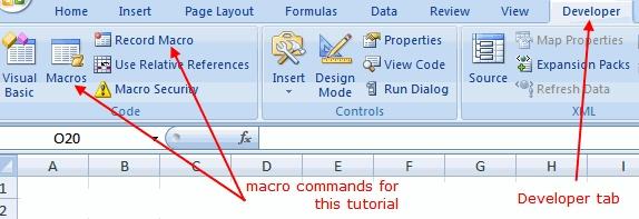 Using macros in Excel