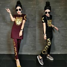 Hot Korean New Women's Fashion Tracking Suit S-5XL Plus Size Short Sleeve Summer Long Section Two-Pieces Sets Women Clothing