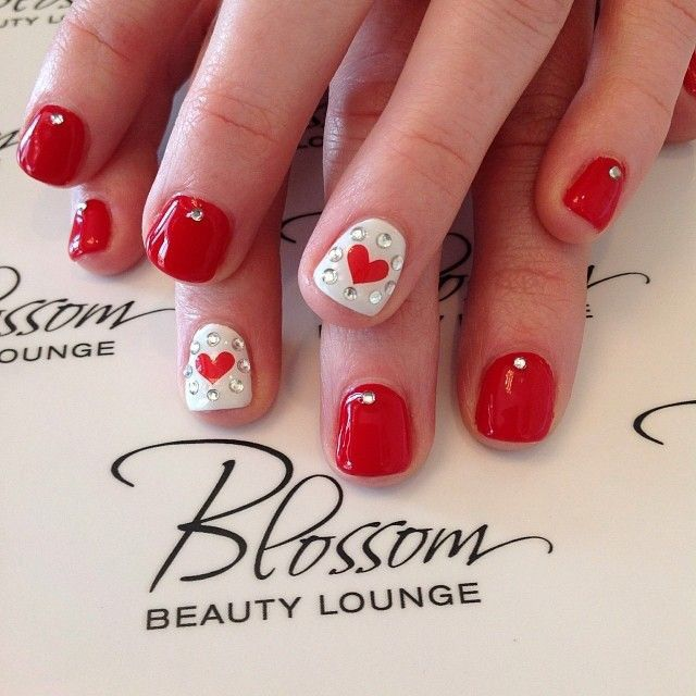 104 best uas images on pinterest nail designs feet nails and valentines day nails short red nails with heart accent by susanna prinsesfo Images
