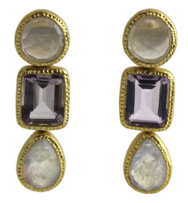 Angelica  Rose Quartz / Amethyst / Moonstone  Vermeil  Earrings