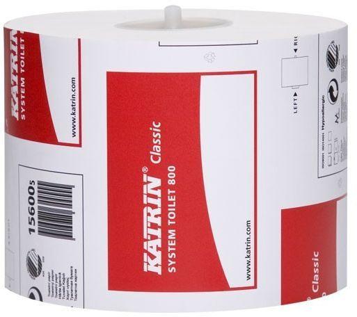 Hartie igienica Classic System Toilet 800 Katrin, 2 straturi, culoare alba.