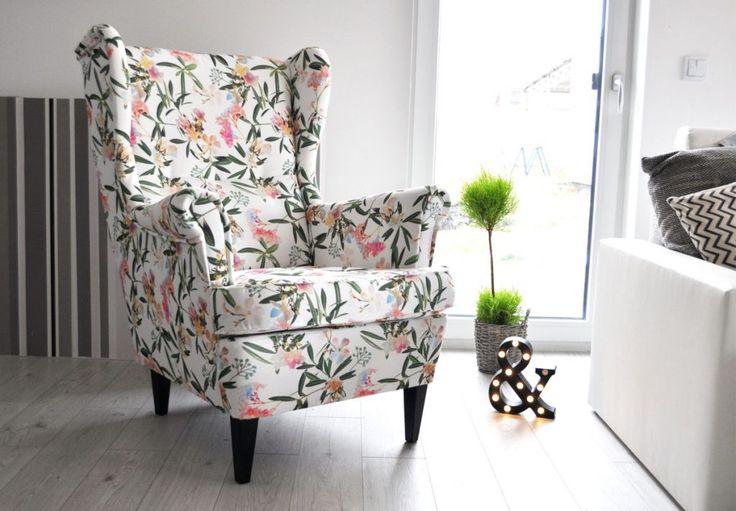 Fotel Uszak w tkaninie Liście bambusa.Zapraszam