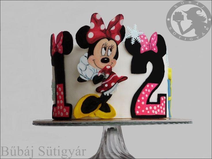 Minnie mouse cake, Hand painting cake, Minnie mouse, Birthday cake, pretty cake, fondant cake