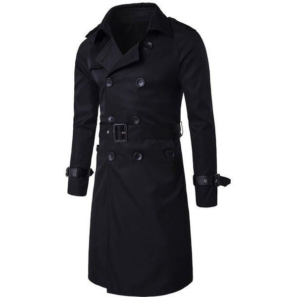 Epaulet Design Double Breasted Trench Coat ($45) ❤ liked on Polyvore featuring men's fashion, men's clothing, men's outerwear, men's coats, mens trench coat, mens double breasted coat and mens double breasted trench coat