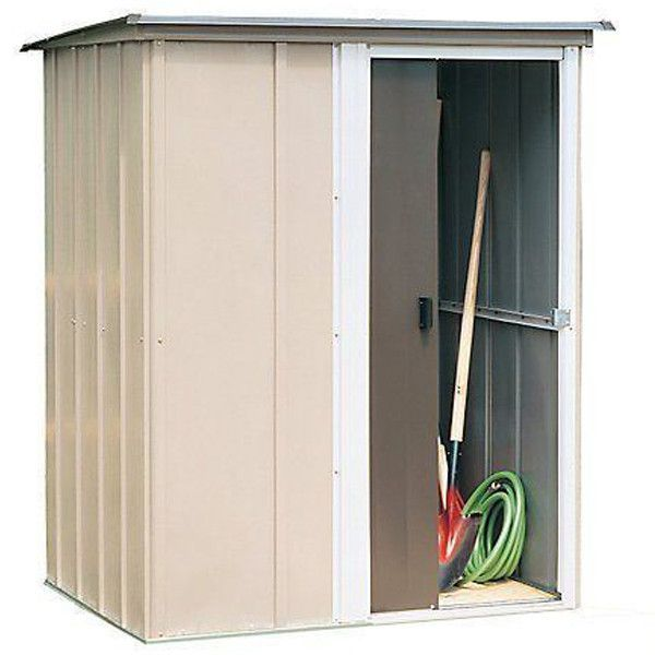 """Brentwood Shed, 5x4, Electro Galvanized Steel, Coffee / Taupe / Eggshell, Lean-to Roof, 67"""" Wall Height, Sliding Door"""