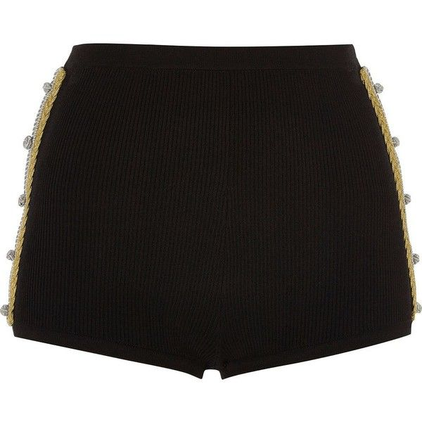 River Island Black knit hot pants with gold twist detail ($56) ❤ liked on Polyvore featuring shorts, black, smart shorts, women, short shorts, mini shorts, micro shorts, hot short shorts and gold short shorts