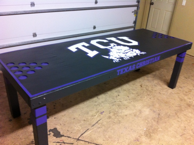 Custom Black Tcu Beer Pong Table Beer Pong Pinterest