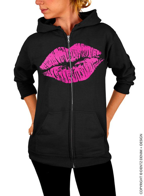 "Use coupon code ""pinterest"" Lips Zip Up Hoodie - Lipstick Kiss Zip Up Hoodie - Valentine's Day - Black with Pink Zip Up Hoodie by DentzDenim"