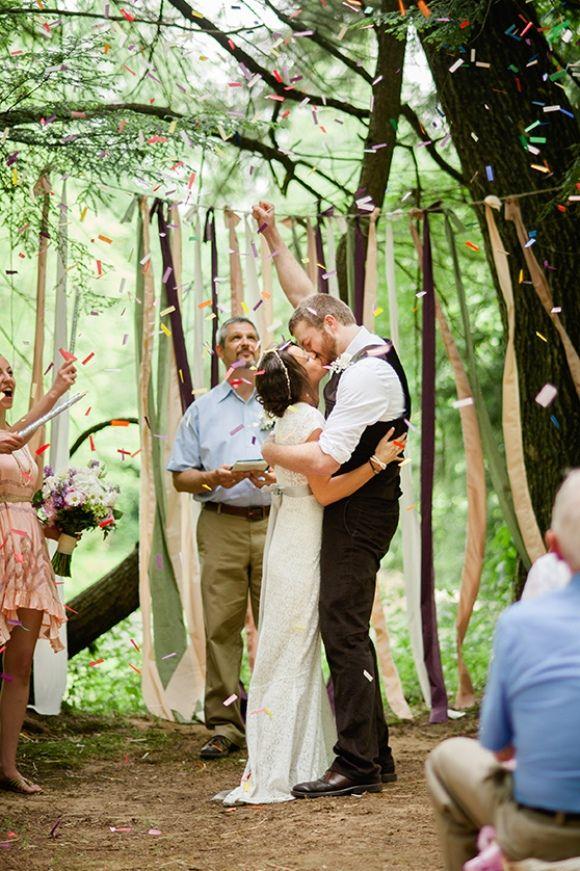 kiss fist pump and confetti boho wedding inspiration