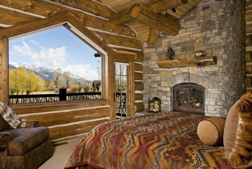 Wow...what an amazing view <3: Ideas, Rustic Bedrooms, Dreams, Window, Bedrooms Design, The View, Master Bedrooms, Logs Cabins, Cabins Bedrooms