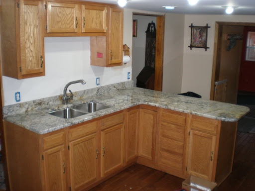 Granite white spring w oak cabinets for the home for Kitchen remodel keeping oak cabinets