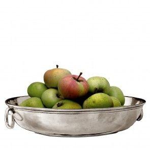 Fruttiera rotonda in peltro, finitura classica