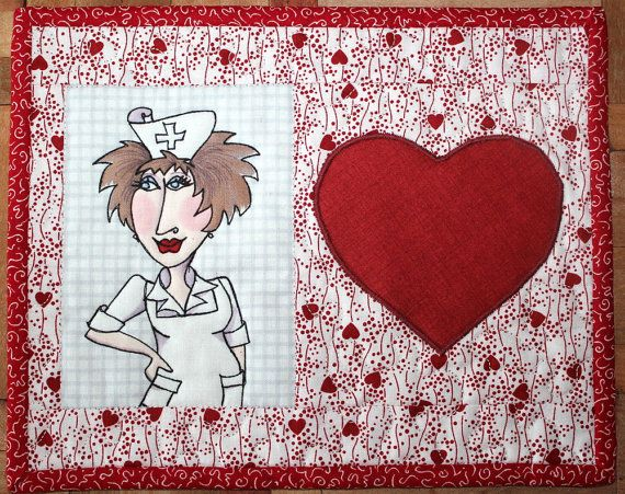 Nifty Nurse Mug Rug - Quilted Mini Placemat - Loralie Design via Etsy