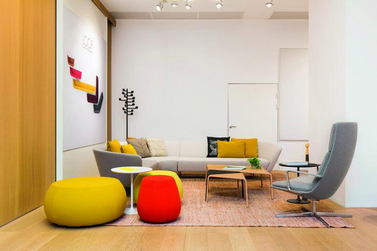 The Arper Stockholm showroom space, featuring Song, Ply, Loop, Cushions, Catifa Sensit by #LievoreAltherrMolina and Pix by Ichiro Iwasaki. Photo: Sandra Birgersdotter Ek