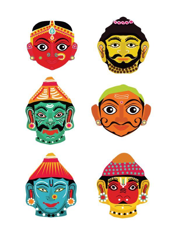 Paper masks Dakshinotsava on Behance