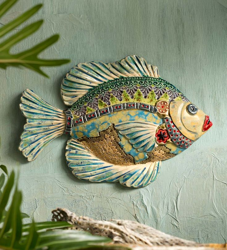 Hand-Sculpted Ceramic Fish Wall Art in Artisan Faire Sub