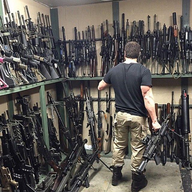 Dan Bilzerian's gun room is a mess. A wonderful, beautiful mess.