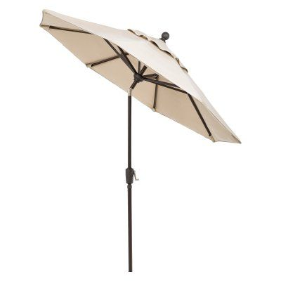 Telescope Casual 7.5 ft. Sunbrella Powder Coated Aluminum Frame Round Umbrella with Push Button Tilt Aruba - 10P57A01