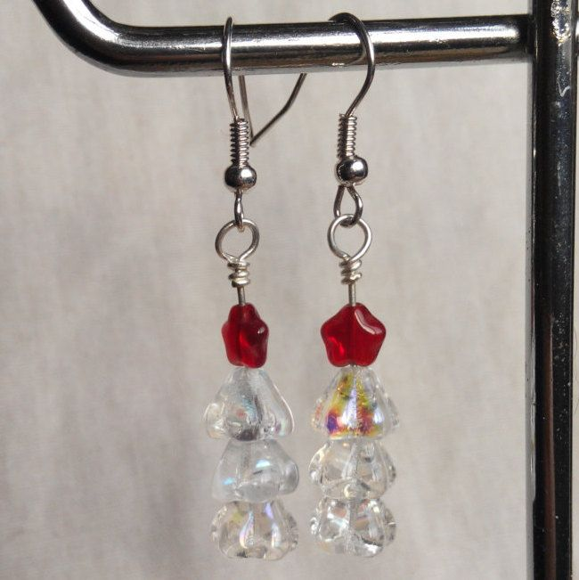 Christmas tree earrings snow white with red stars. made in Ireland. by terramor on Etsy