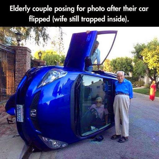 Funny Old Couple Car Accident Photo