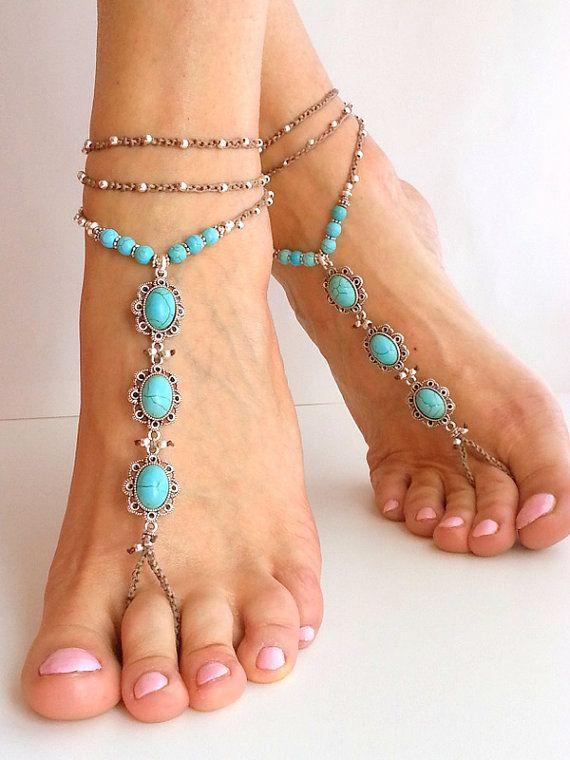 STRAND BRUILOFT BAREFOOT sandals. Blauwe turquoise steen. Hippie sandalen Boho Bridal sandalen, bruiloft accessoires haak enkelbandje Boheemse enkelbandje door FiArt