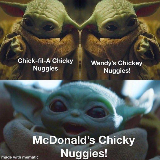 Chicky Nuggie Choices Babyyoda Yoda Funny Funny Star Wars Memes Yoda Images