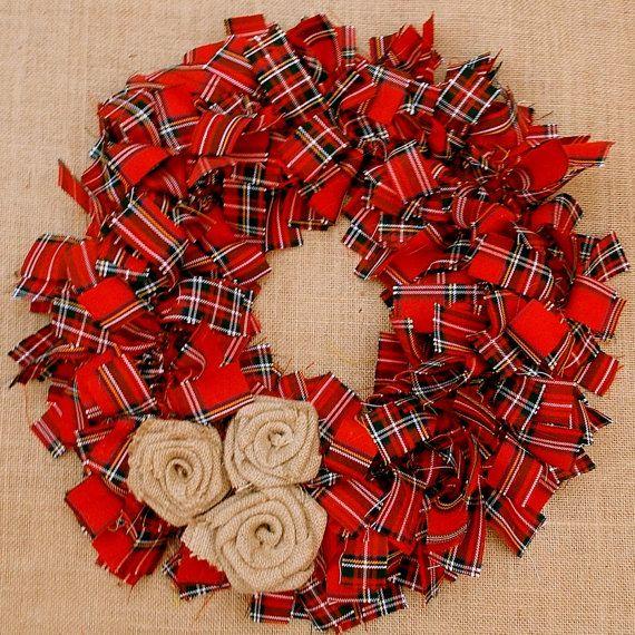 Rag Wreath in Royal Stewart Tartan by chicetpetit on Etsy, £15.00