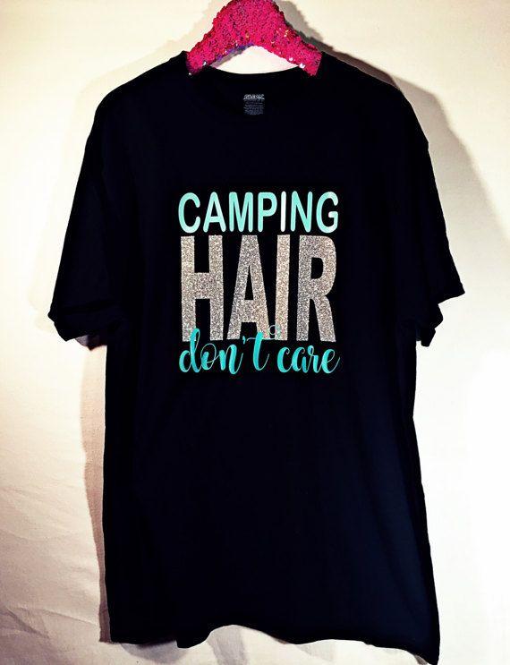 Camping de cabello no importa tee. Vinilo de transferencia de