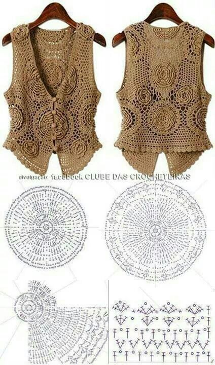 crochet sleeveless top waistcoat style @ Af's Collection