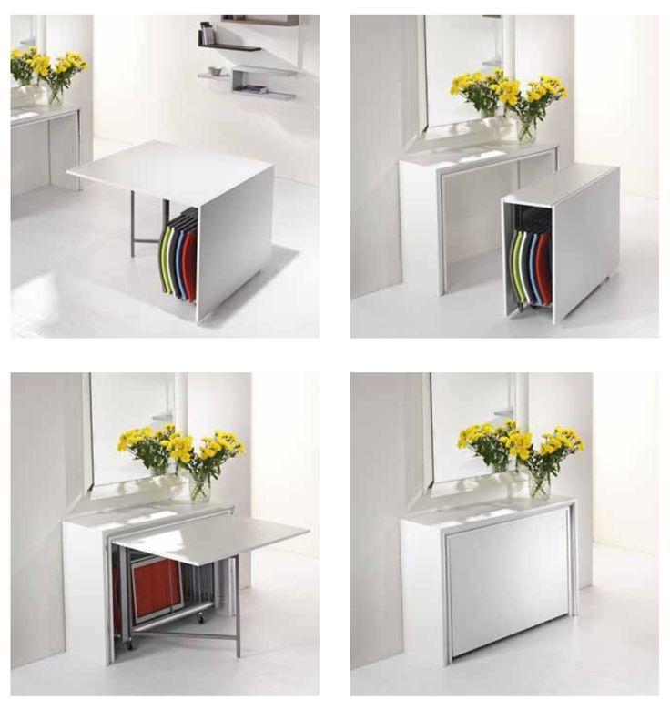 cod. FRS100 - consolle, tavolo e sedie tutto in uno spazio minimo e sempre pronto all'uso.