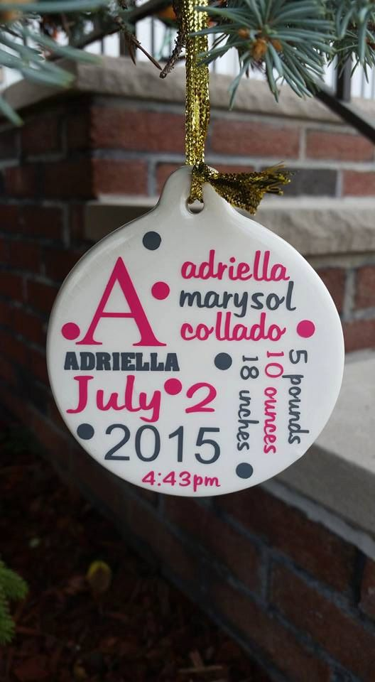 Personalized baby first Christmas Ornament by KreationsbyCourtney