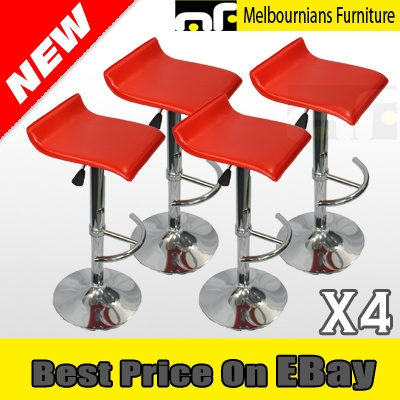 NEW 4X OF QUALITY CHROME BASE LEATHER KITCHEN BREAKFAST BAR STOOLS RED 4 for $119