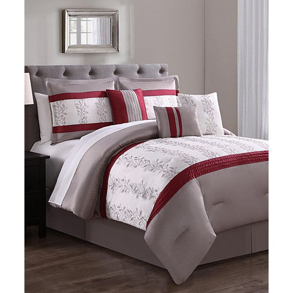 S.L. Home Fashions Taupe & Red Isla Six-Piece Comforter Set ($43) ❤ liked on Polyvore featuring home, bed & bath, bedding, comforters, taupe comforter set, red bedding, tan comforter, taupe comforter and square pillow shams