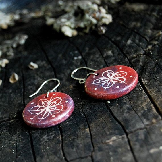 Ceramic jewelry earrings  flower motif by Brekszer on Etsy