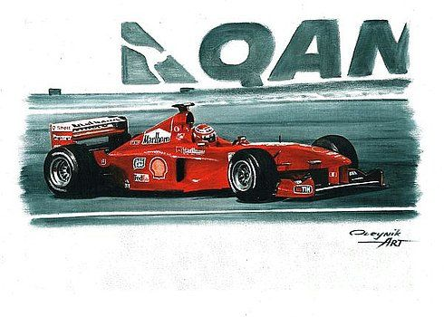 1999 Ferrari F399,  Eddie Irvine,  Michael Schumacher,  Mika Salo.  Ferrari F1 collection ART by Artem Oleynik. This collection demonstrating Ferrari F1 racing cars since 1950 to 2016 and includes 96 pictures in oil on canvas. The size of each original picture is 25 x 35 cm.