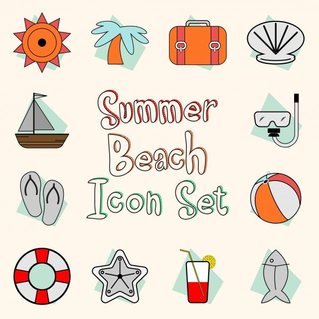 Summer Beach Icon Set Summer Beach Icon Png And Vector With Transparent Background For Free Download Beach Icon Icon Set Holiday Logo