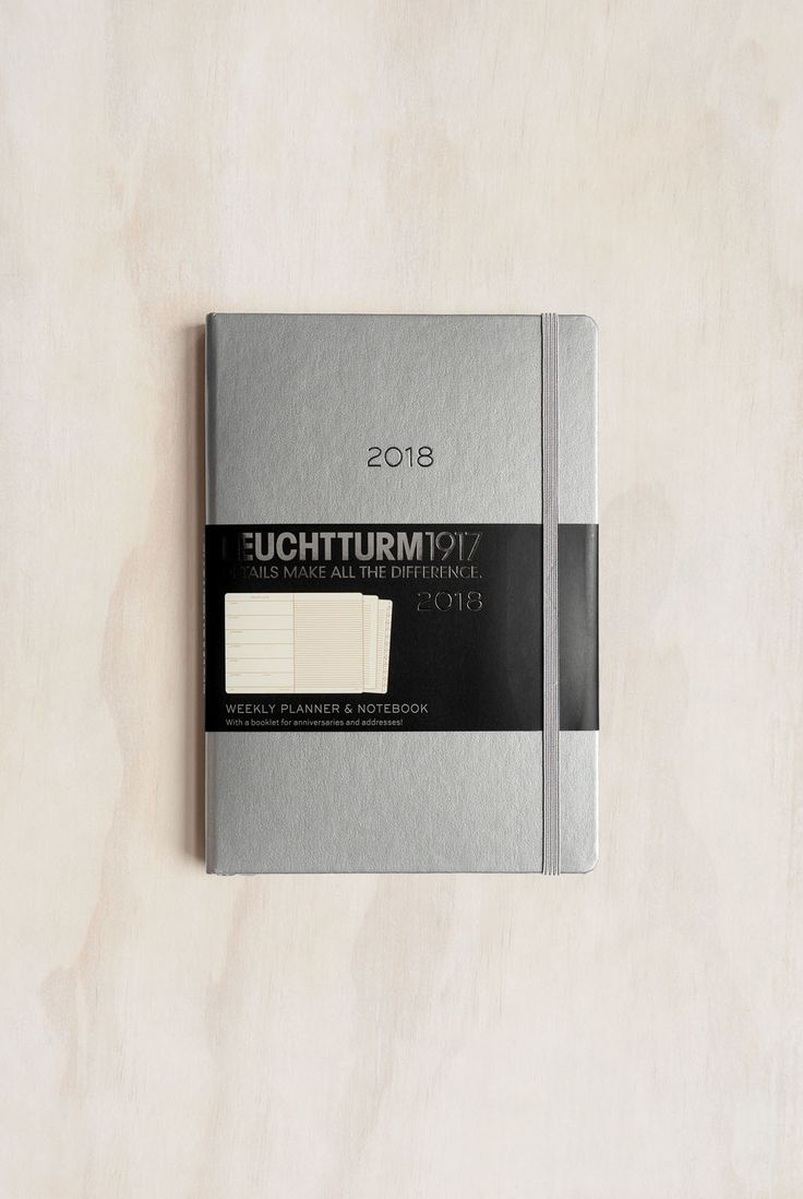 Buy Leuchtturm1917 - 2018 Metallic Limited Edition Diary Planner - Weekly + Notebook - A5 (14.5x21cm) - Hard Cover - Silver - Milligram Stationery. milligram.com