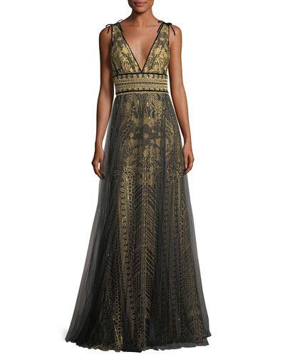 4b2f2241 MARCHESA NOTTE TULLE OVERLAY SLEEVELESS EMBROIDERED EVENING GOWN. # marchesanotte #cloth #