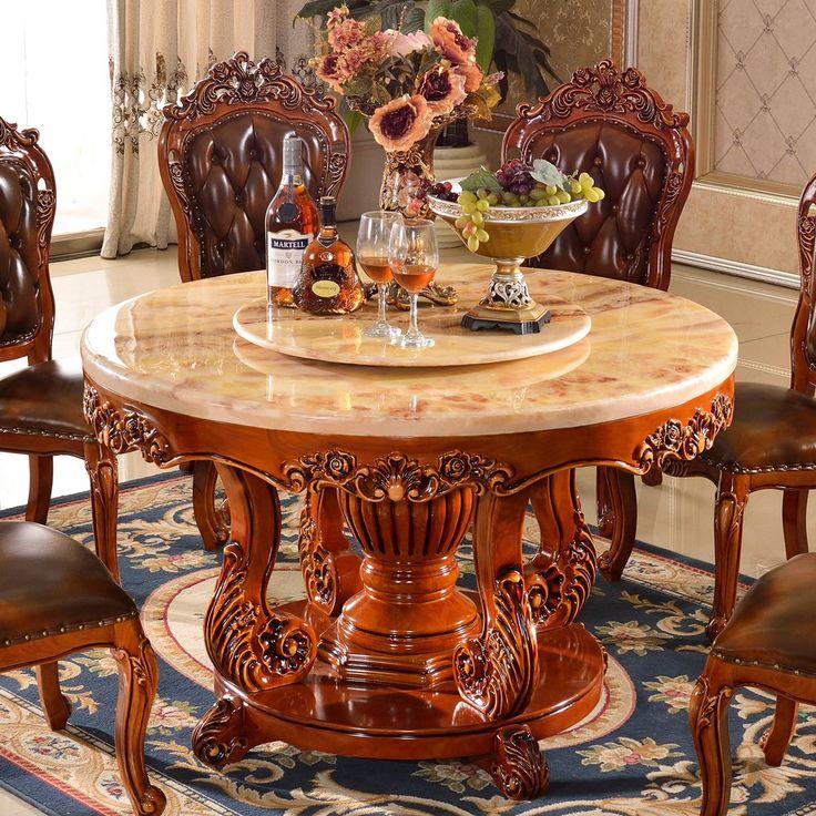 Европейский натуральный мрамор обеденный стол американский палисандр цвет полный резной круглый стол двойной обеденный стол стул сочетание мебель-Таобао