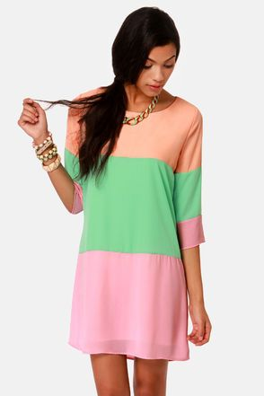Citrus Grove Peach Color Block Shift Dress, Lulus.com (DIYing this, for sure!)