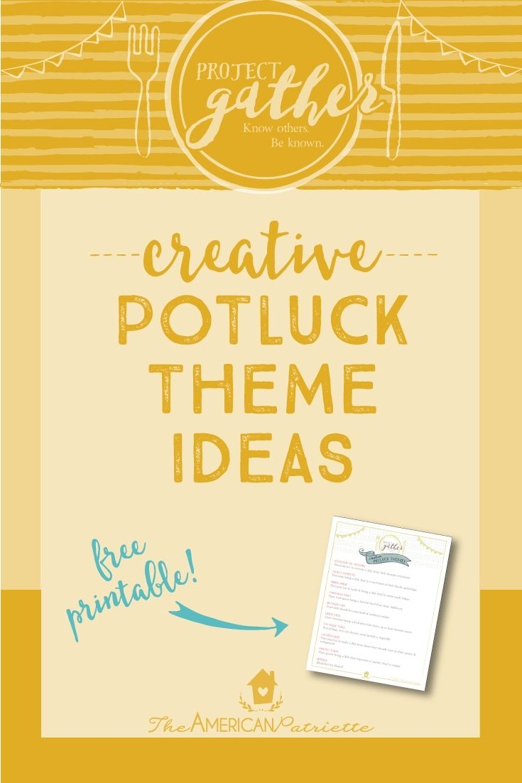 Looking for theme ideas for your next potluck gathering? Here are 10 creative themes (not your typical boring ones!) for you to choose from when planning your next group meal. Click to read more about each theme and access the free download of the theme list!