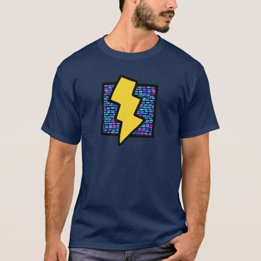 Blue Bricks Lightning Bolt. Producto disponible en tienda Zazzle. Vestuario, moda. Product available in Zazzle store. Fashion wardrobe. Regalos, Gifts. #camiseta #tshirt #programmer #nerd #sheldon