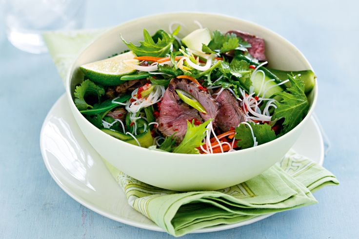 Beef up your weeknight cooking with this fresh and fast meal loaded with vegies, noodles and a chilli-infused dressing.
